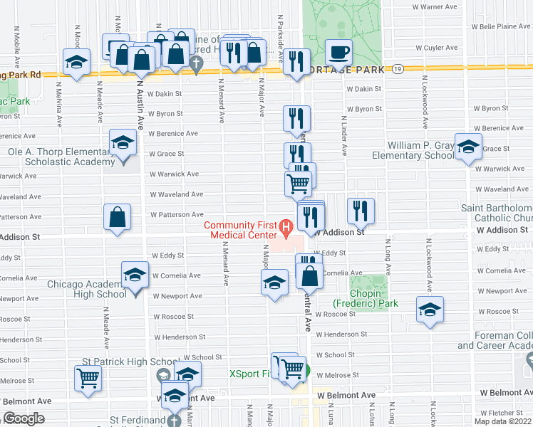 map of restaurants, bars, coffee shops, grocery stores, and more near 5676 West Patterson Avenue in Chicago