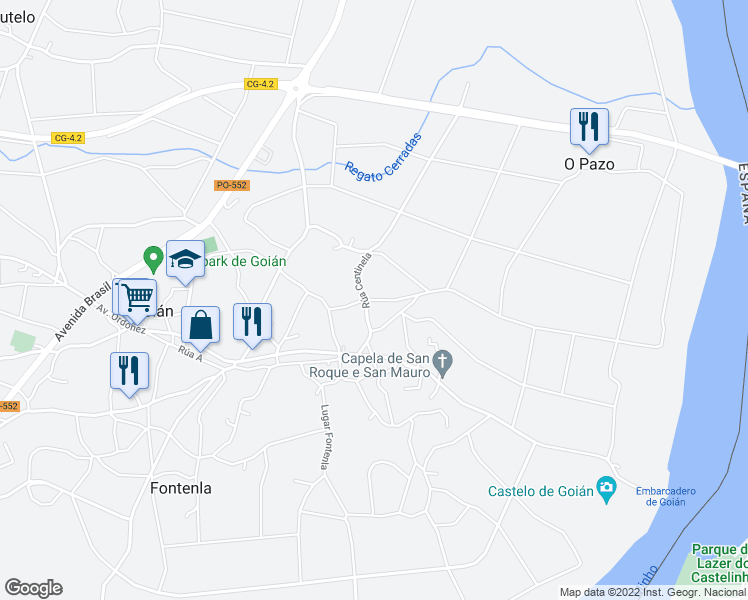 map of restaurants, bars, coffee shops, grocery stores, and more near 33C Rúa Centinela in Pontevedra