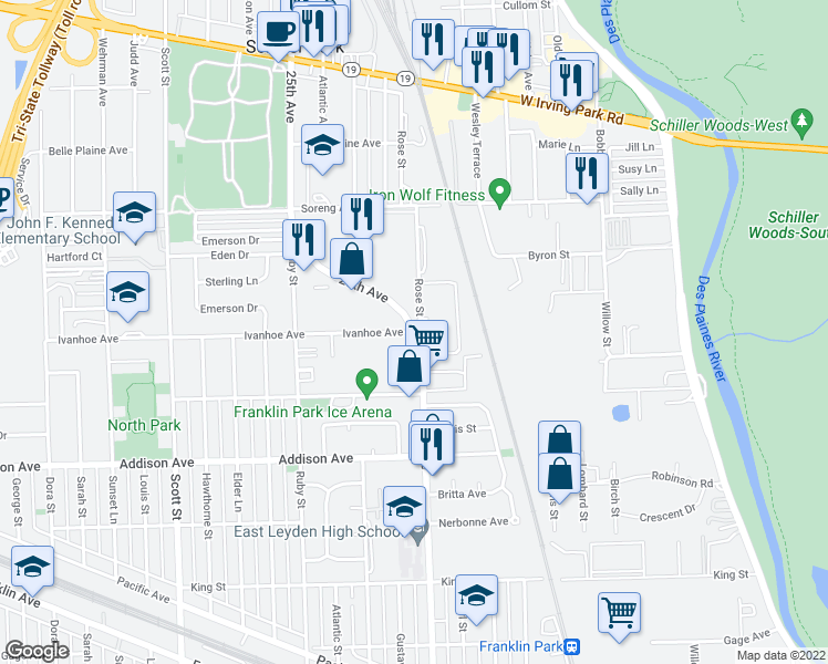 map of restaurants, bars, coffee shops, grocery stores, and more near N 25th Ave & Ivanhoe Ave in Schiller Park