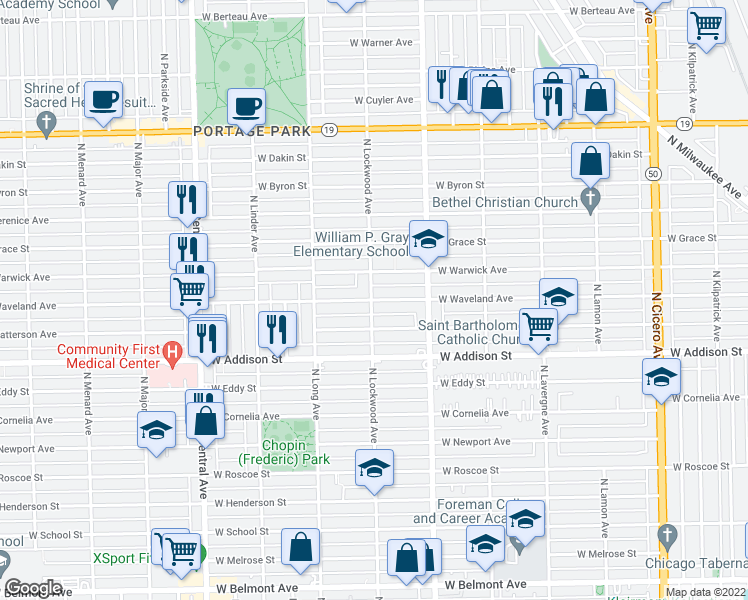 map of restaurants, bars, coffee shops, grocery stores, and more near 5284 West Waveland Avenue in Chicago
