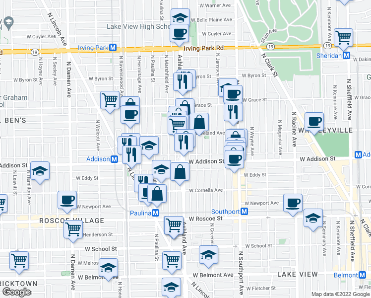 map of restaurants, bars, coffee shops, grocery stores, and more near 3641 North Ashland Avenue in Chicago