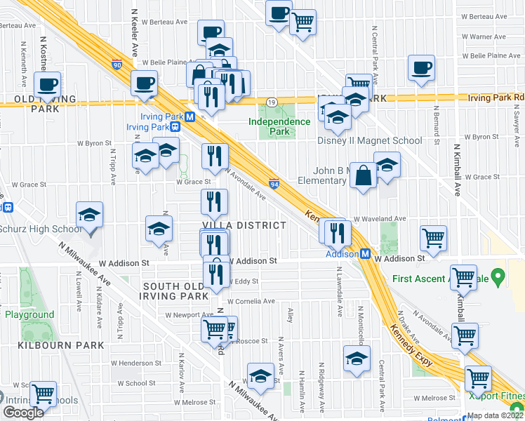 map of restaurants, bars, coffee shops, grocery stores, and more near 3713 North Springfield Avenue in Chicago