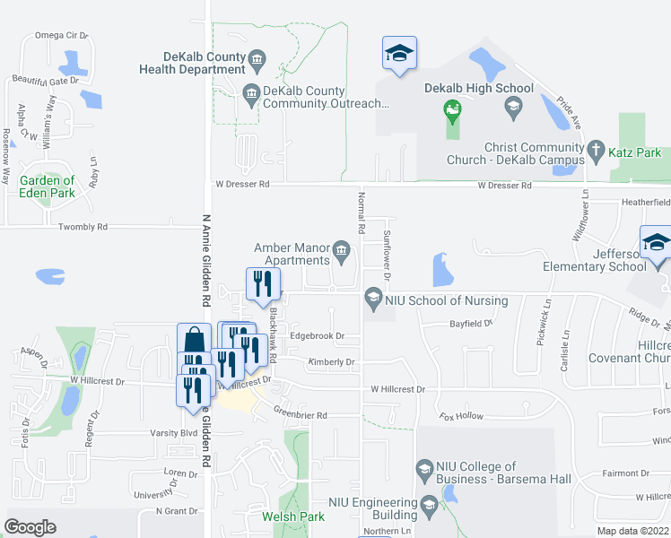 map of restaurants, bars, coffee shops, grocery stores, and more near 833 Ridge Drive in DeKalb