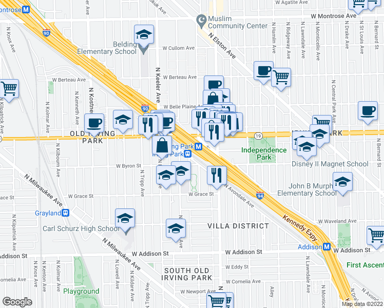 map of restaurants, bars, coffee shops, grocery stores, and more near 3931 North Avondale Avenue in Chicago