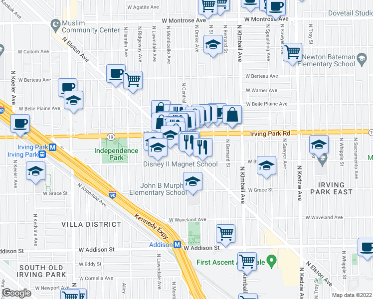 map of restaurants, bars, coffee shops, grocery stores, and more near 3541 West Irving Park Road in Chicago