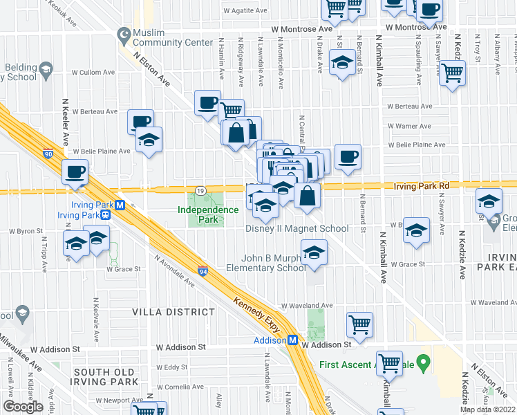 map of restaurants, bars, coffee shops, grocery stores, and more near 3930 North Lawndale Avenue in Chicago