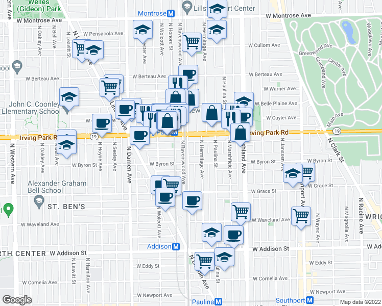map of restaurants, bars, coffee shops, grocery stores, and more near 3919 North Ravenswood Avenue in Chicago