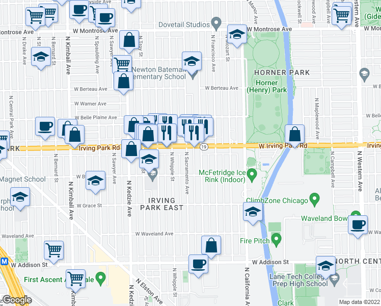 map of restaurants, bars, coffee shops, grocery stores, and more near 3947 North Sacramento Avenue in Chicago