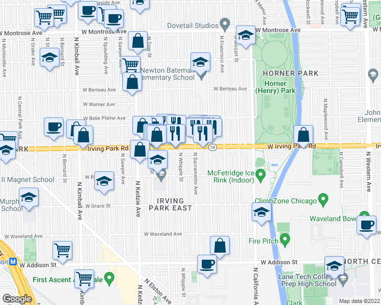 map of restaurants, bars, coffee shops, grocery stores, and more near 3942 North Sacramento Avenue in Chicago