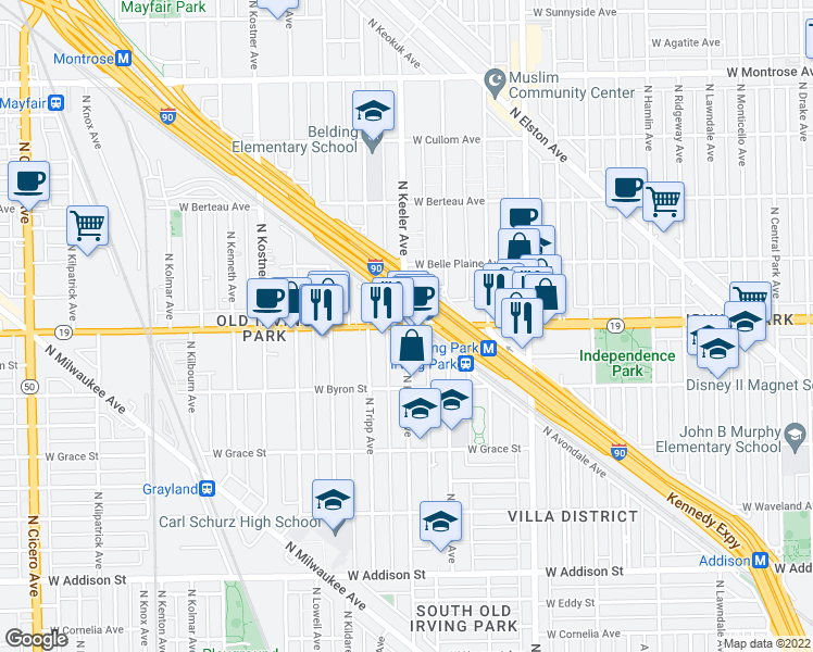 map of restaurants, bars, coffee shops, grocery stores, and more near W Irving Park Rd & N Keeler Ave in Chicago