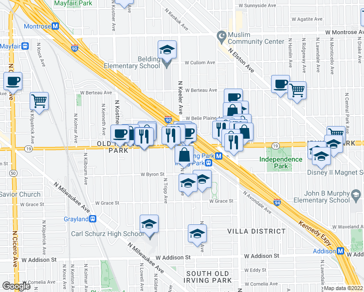 map of restaurants, bars, coffee shops, grocery stores, and more near West Irving Park Road & North Keeler Avenue in Chicago