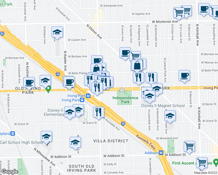 map of restaurants, bars, coffee shops, grocery stores, and more near 3922 West Irving Park Road in Chicago