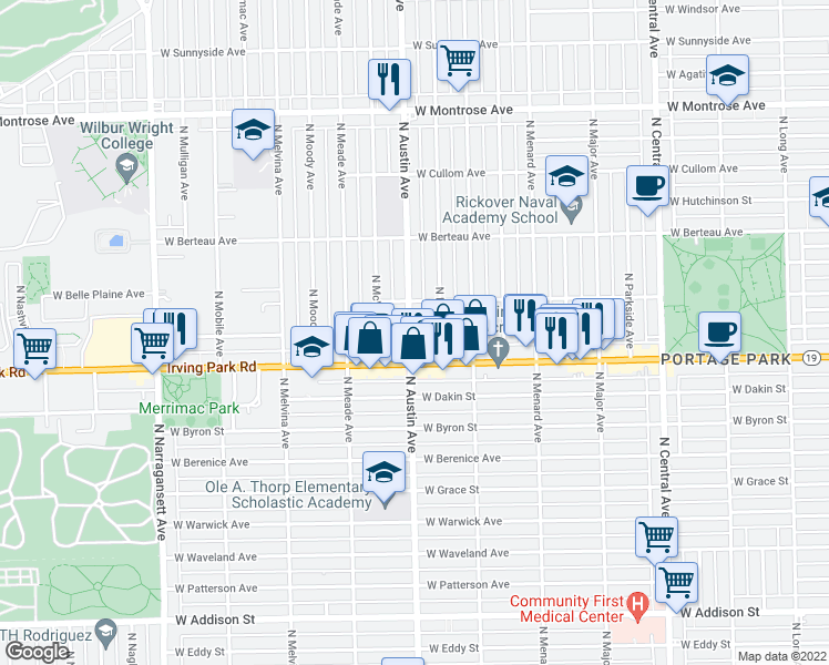 map of restaurants, bars, coffee shops, grocery stores, and more near 4027 North Austin Avenue in Chicago