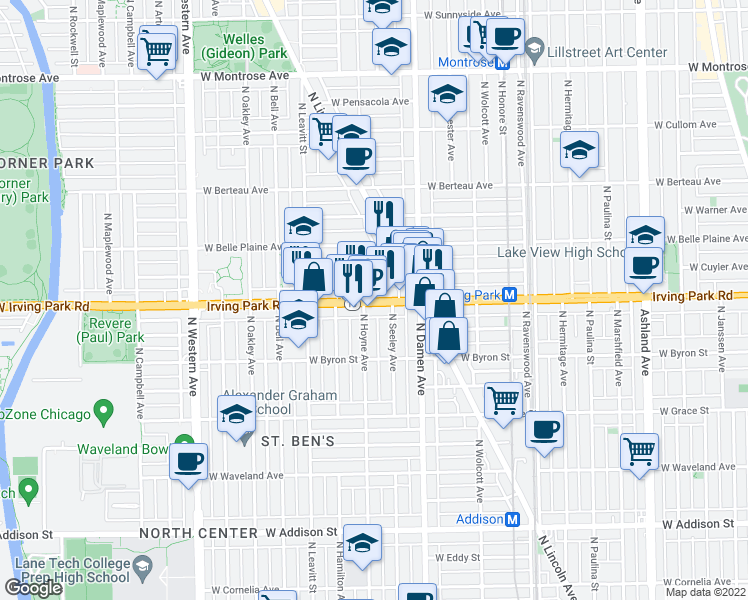 map of restaurants, bars, coffee shops, grocery stores, and more near 3941 North Hoyne Avenue in Chicago