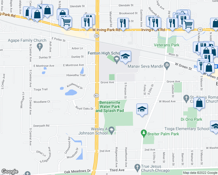 map of restaurants, bars, coffee shops, grocery stores, and more near 1100 Grove Avenue in Bensenville