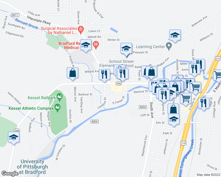 map of restaurants, bars, coffee shops, grocery stores, and more near 8 Osborne Place in Bradford