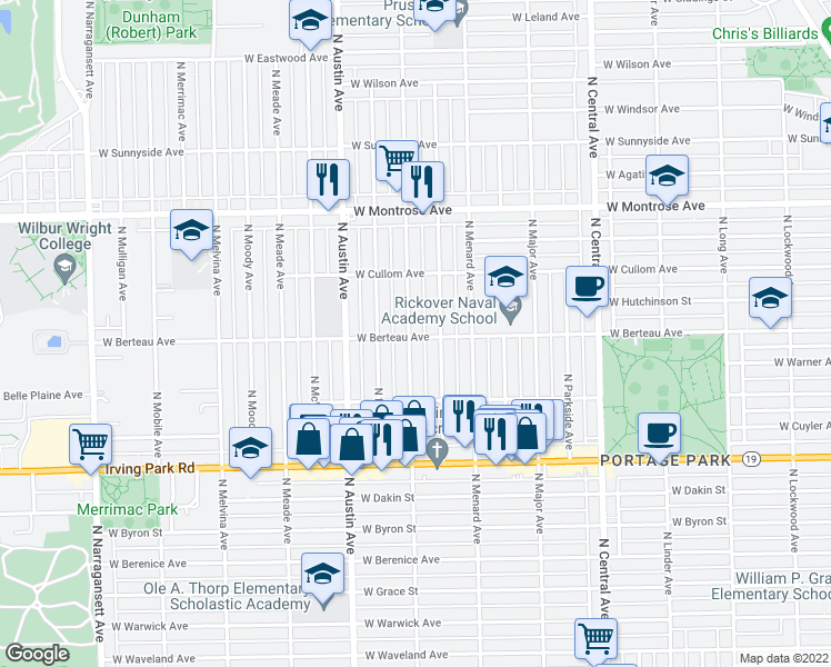 map of restaurants, bars, coffee shops, grocery stores, and more near 4205 North Marmora Avenue in Chicago
