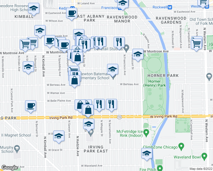 map of restaurants, bars, coffee shops, grocery stores, and more near 3011 West Berteau Avenue in Chicago