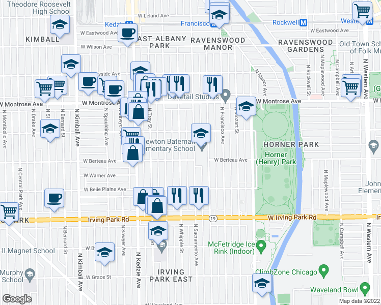 map of restaurants, bars, coffee shops, grocery stores, and more near 4212 North Sacramento Avenue in Chicago