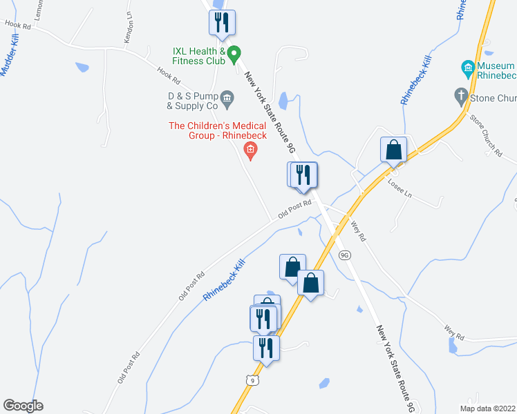 map of restaurants, bars, coffee shops, grocery stores, and more near 2 Hook Road in Rhinebeck