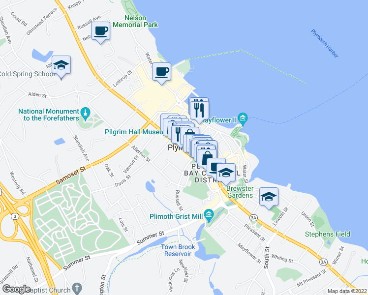 map of restaurants, bars, coffee shops, grocery stores, and more near in Plymouth