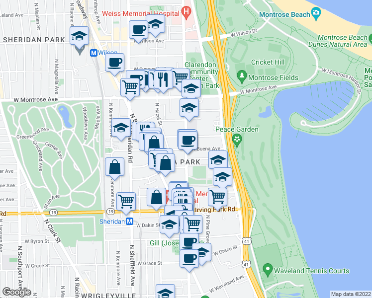 map of restaurants, bars, coffee shops, grocery stores, and more near North Clarendon Avenue & West Buena Avenue in Chicago