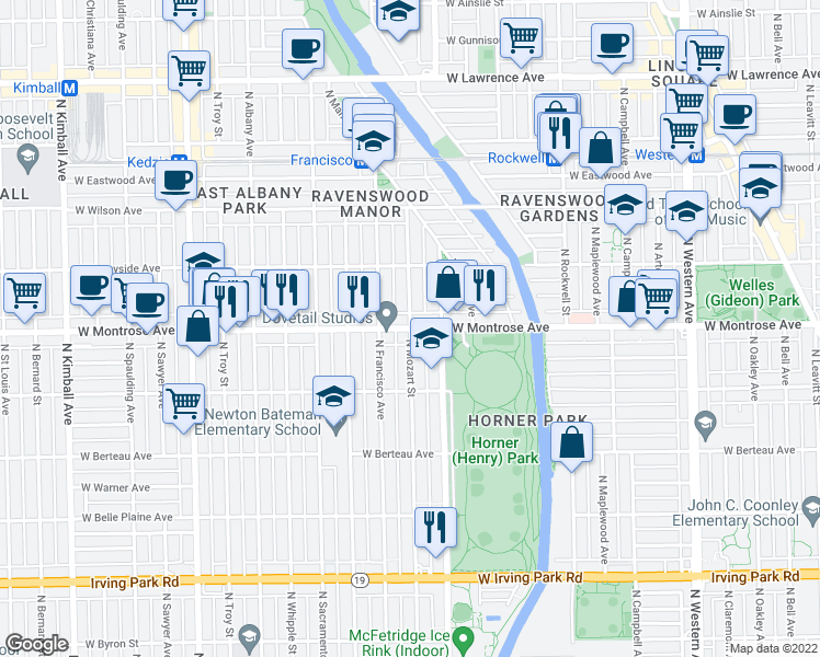 map of restaurants, bars, coffee shops, grocery stores, and more near W Montrose Ave & N Mozart St in Chicago