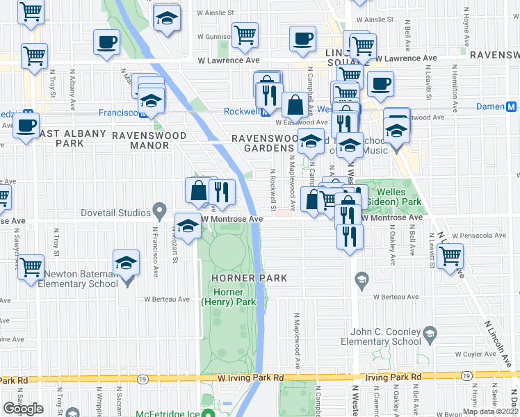 map of restaurants, bars, coffee shops, grocery stores, and more near 2619 West Agatite Avenue in Chicago