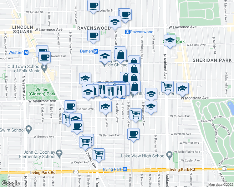 map of restaurants, bars, coffee shops, grocery stores, and more near 4413 North Wolcott Avenue in Chicago