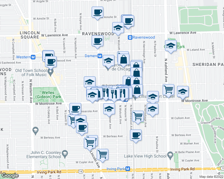 map of restaurants, bars, coffee shops, grocery stores, and more near 4445 North Winchester Avenue in Chicago