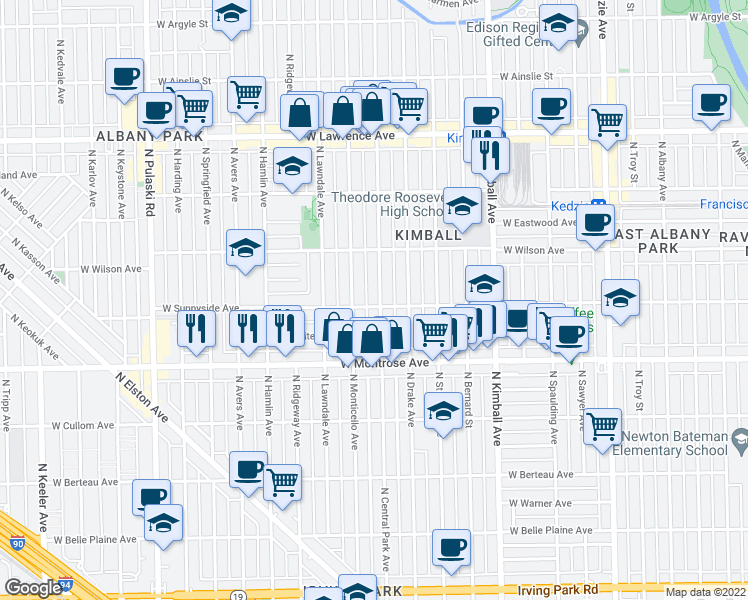 map of restaurants, bars, coffee shops, grocery stores, and more near 3600 West Sunnyside Avenue in Chicago