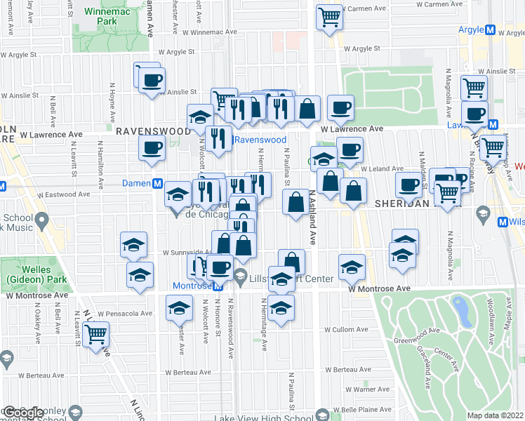 map of restaurants, bars, coffee shops, grocery stores, and more near West Wilson Avenue & North Hermitage Avenue in Chicago