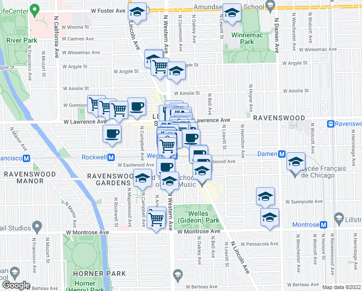 map of restaurants, bars, coffee shops, grocery stores, and more near 4716 North Lincoln Avenue in Chicago