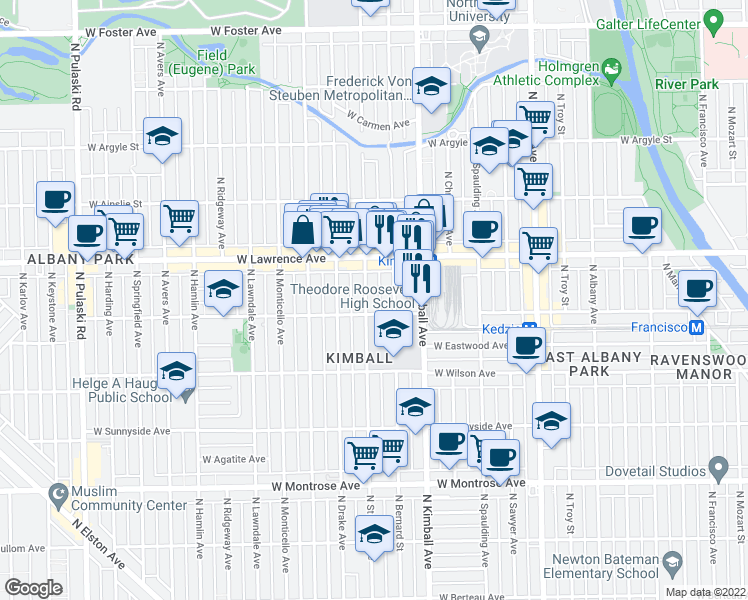 map of restaurants, bars, coffee shops, grocery stores, and more near 4713 Saint Louis Avenue in Chicago