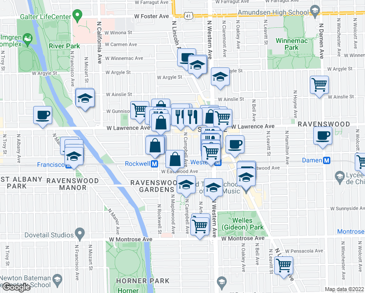 map of restaurants, bars, coffee shops, grocery stores, and more near 4716 North Campbell Avenue in Chicago