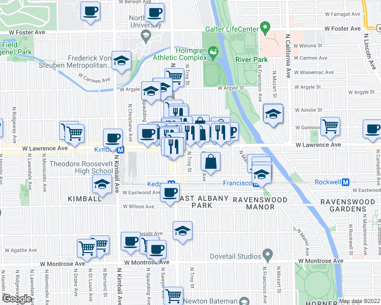map of restaurants, bars, coffee shops, grocery stores, and more near 4749 North Troy Street in Chicago