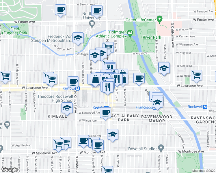 map of restaurants, bars, coffee shops, grocery stores, and more near West Lawrence Avenue & North Kedzie Avenue in Chicago