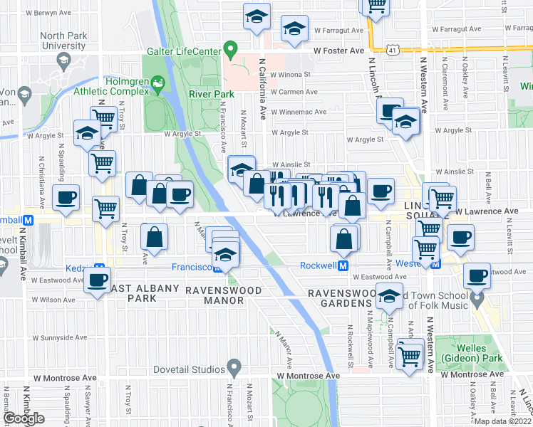 map of restaurants, bars, coffee shops, grocery stores, and more near 2801 West Lawrence Avenue in Chicago