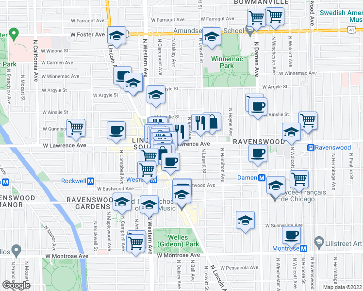 map of restaurants, bars, coffee shops, grocery stores, and more near 2247 West Lawrence Avenue in Chicago
