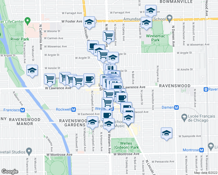 map of restaurants, bars, coffee shops, grocery stores, and more near N Western Ave & W Lawrence Ave in Chicago