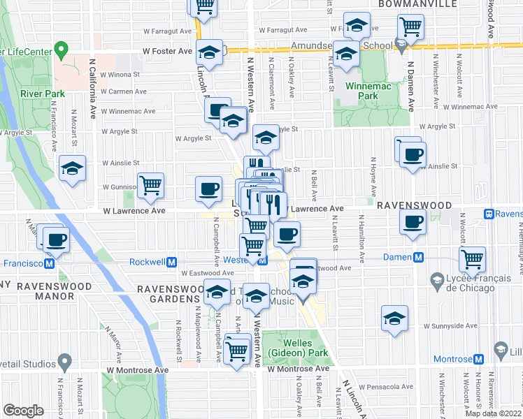 map of restaurants, bars, coffee shops, grocery stores, and more near 4774 North Lincoln Avenue in Chicago