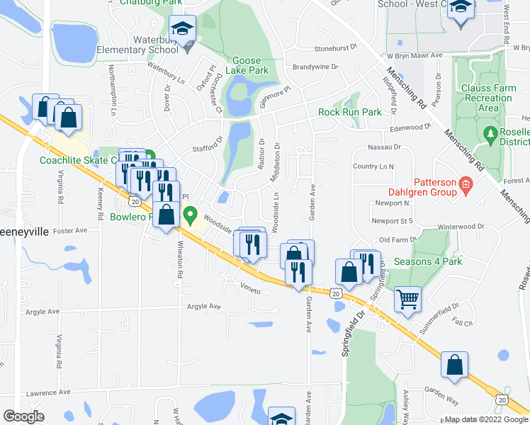 map of restaurants, bars, coffee shops, grocery stores, and more near 785 Meade Lane in Roselle