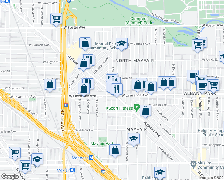 map of restaurants, bars, coffee shops, grocery stores, and more near 4821 North Elston Avenue in Chicago