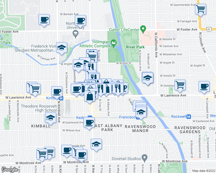 map of restaurants, bars, coffee shops, grocery stores, and more near 4850 North Albany Avenue in Chicago