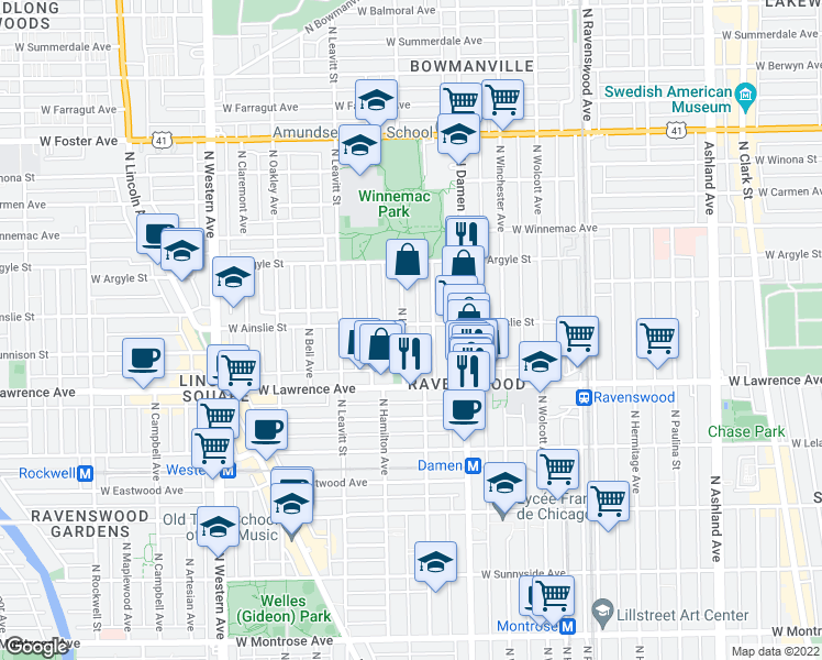 map of restaurants, bars, coffee shops, grocery stores, and more near 4855 North Hoyne Avenue in Chicago