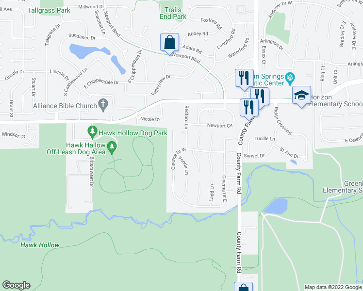 map of restaurants, bars, coffee shops, grocery stores, and more near 5400 Redford Lane in Bartlett
