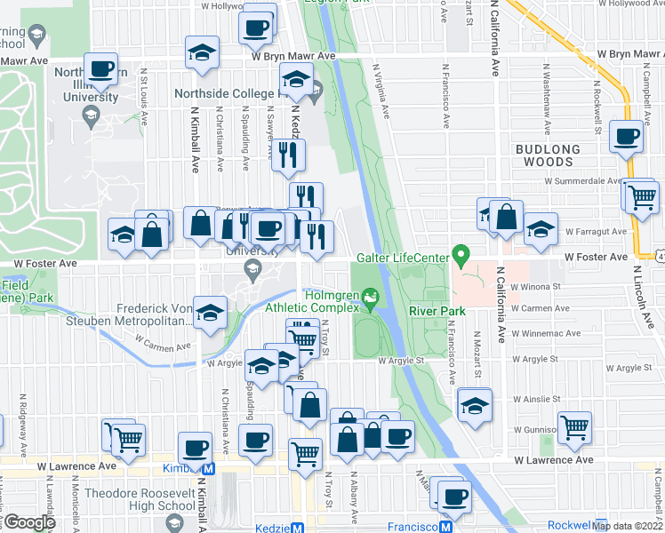 map of restaurants, bars, coffee shops, grocery stores, and more near 3115 West Foster Avenue in Chicago