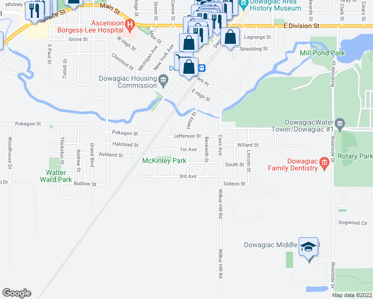 map of restaurants, bars, coffee shops, grocery stores, and more near 306 1st Avenue in Dowagiac