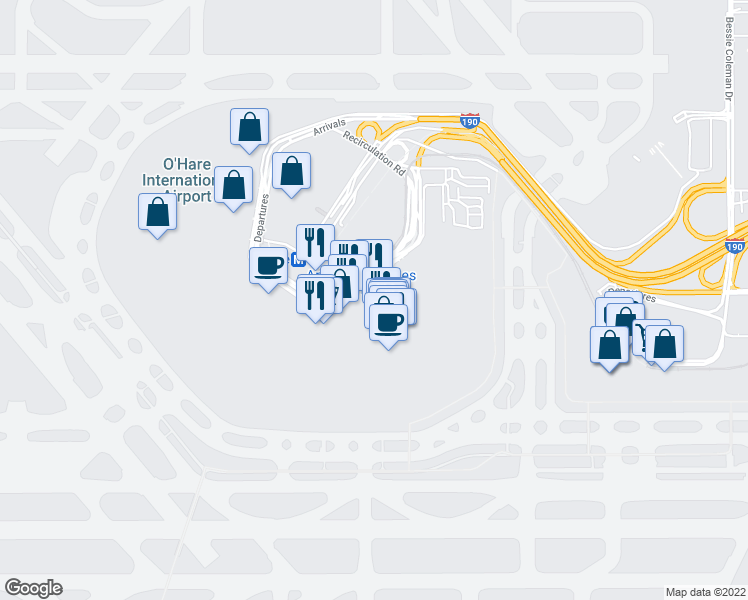 map of restaurants, bars, coffee shops, grocery stores, and more near 1 Departures in Chicago