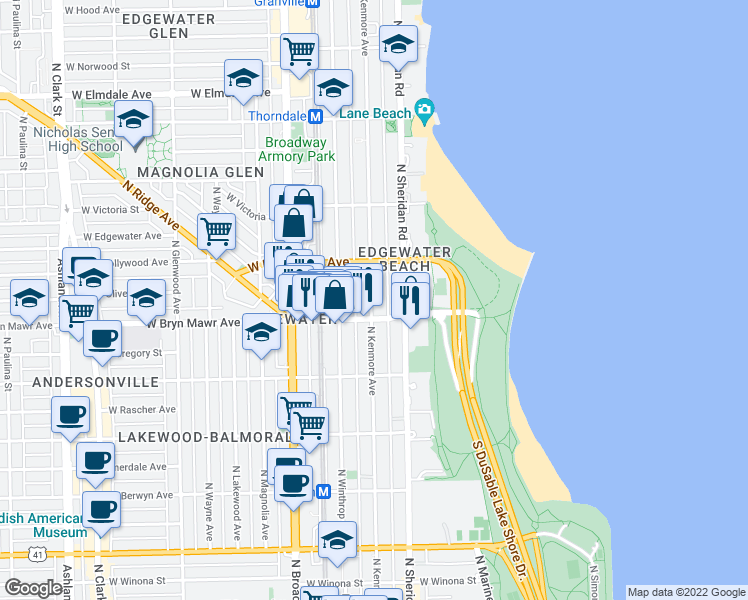 map of restaurants, bars, coffee shops, grocery stores, and more near 5646 North Kenmore Avenue in Chicago